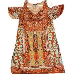 Msk cold shoulder lightweight tunic slip dress L